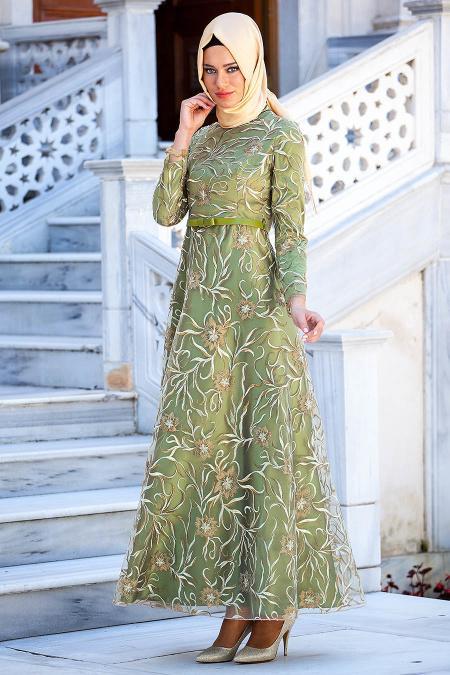 Tesettürlü Abiye Elbise 2218YY