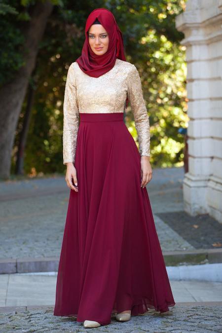 Bordo Tesettür Abiye Elbise 2189BR