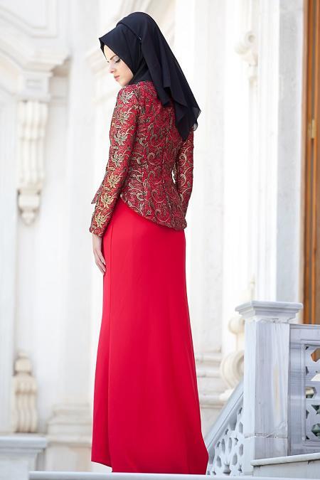 Kırmızı Tesettür Abiye Elbise 2125K