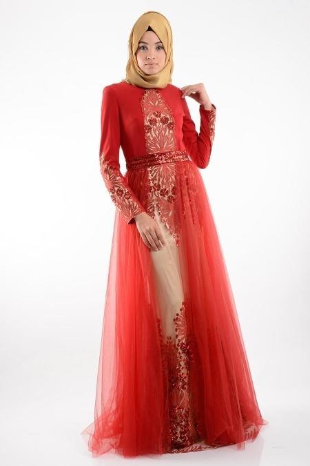 Kırmızı Tesettür Abiye Elbise 3977K