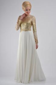 Beyaz Tesettür Abiye Elbise 3827B - Thumbnail