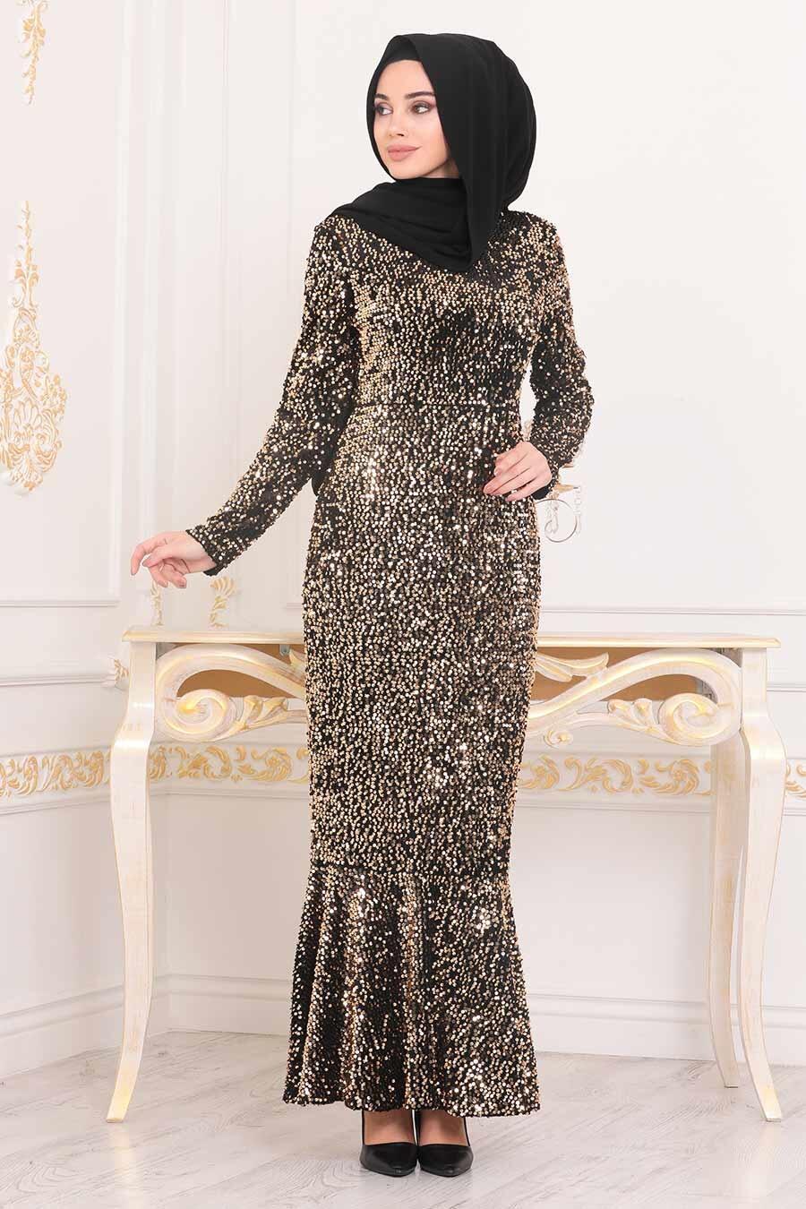 Tesettürlü Abiye Elbise - Balık Model Gold Tesettür Abiye Elbise 8742GOLD
