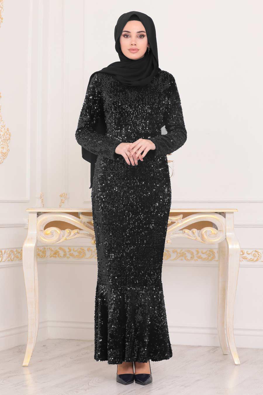 Tesettürlü Abiye Elbise - Balık Model Siyah Tesettür Abiye Elbise 8742S