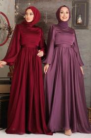 Tesettürlü Abiye Elbise - Balon Kol Bordo Tesettür Abiye Elbise 5215BR - Thumbnail