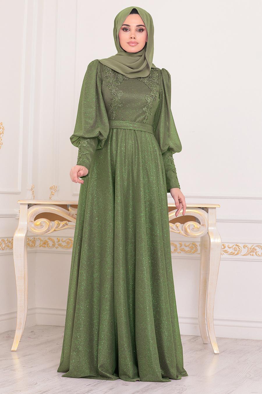 Tesettürlü Abiye Elbise - Balon Kol Fıstık Yeşili Tesettür Abiye Elbise 21521FY
