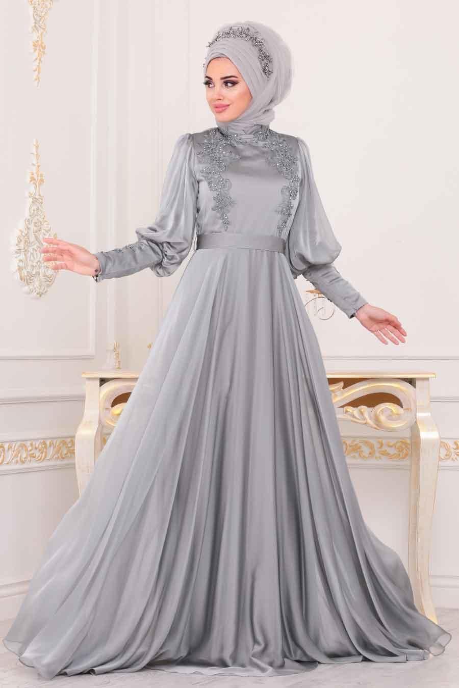 Tesettürlü Abiye Elbise - Balon Kol Gri Tesettür Abiye Elbise 39270GR