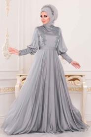 Tesettürlü Abiye Elbise - Balon Kol Gri Tesettür Abiye Elbise 39270GR - Thumbnail