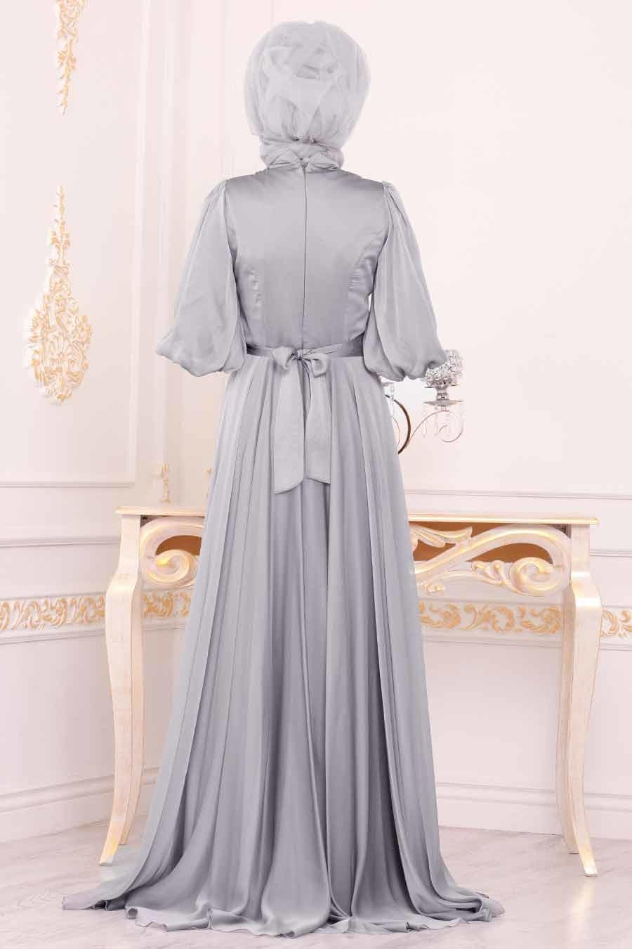 Tesettürlü Abiye Elbise - Balon Kol Gri Tesettür Abiye Elbise 3927GR