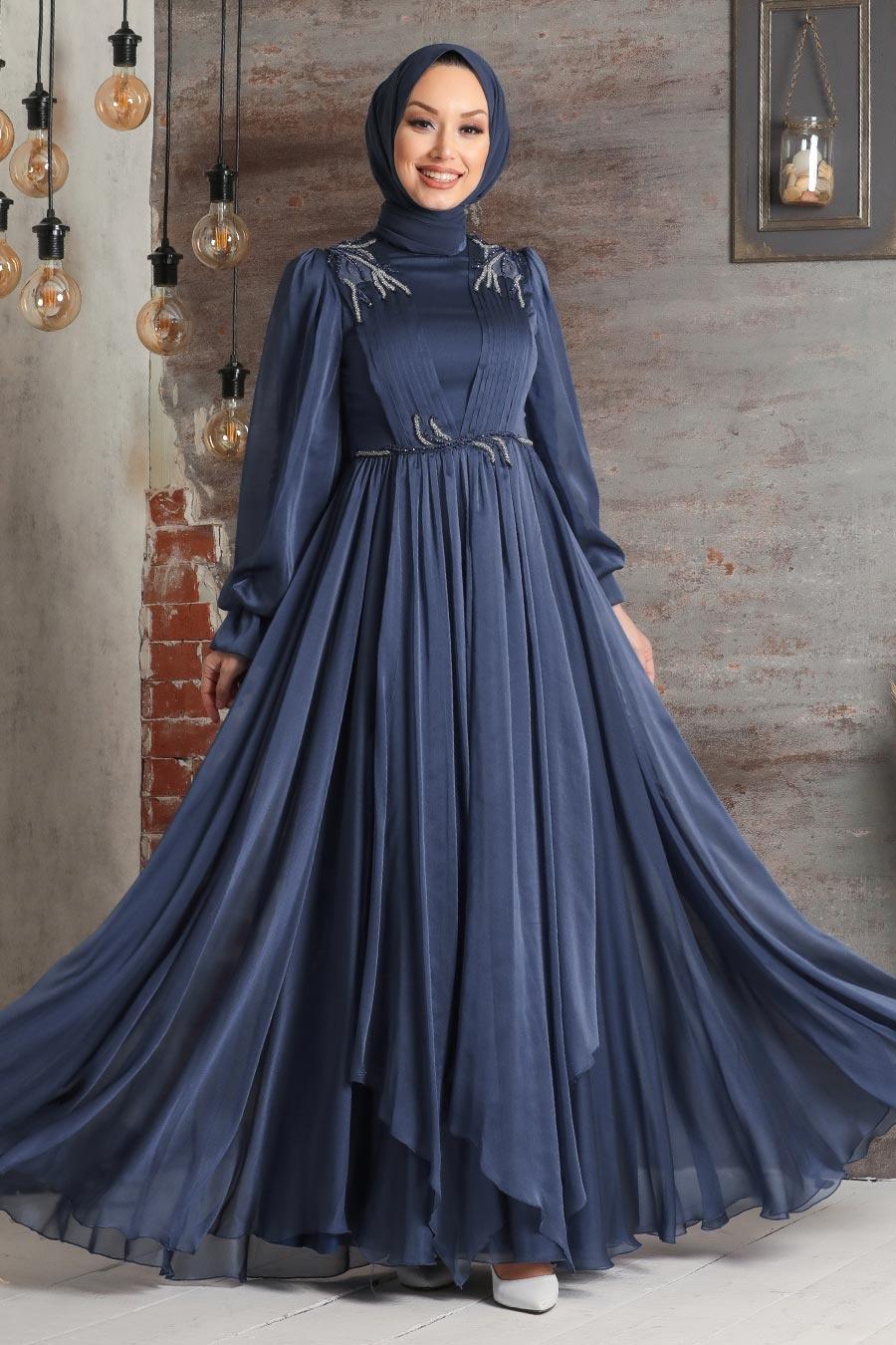Tesettürlü Abiye Elbise - Balon Kol Lacivert Tesettür Abiye Elbise 21910L