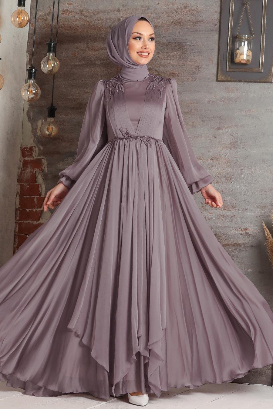 Tesettürlü Abiye Elbise - Balon Kol Lila Tesettür Abiye Elbise 21910LILA