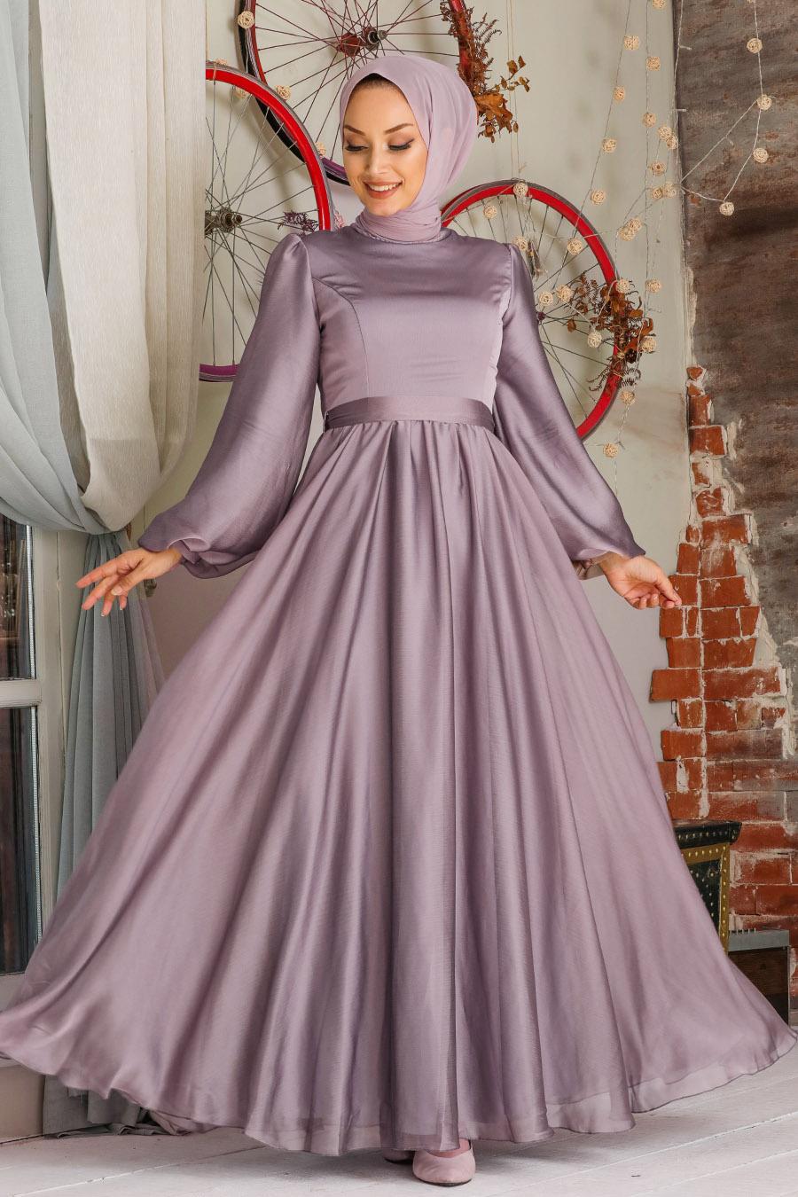 Tesettürlü Abiye Elbise - Balon Kol Lila Tesettür Abiye Elbise 5215LILA