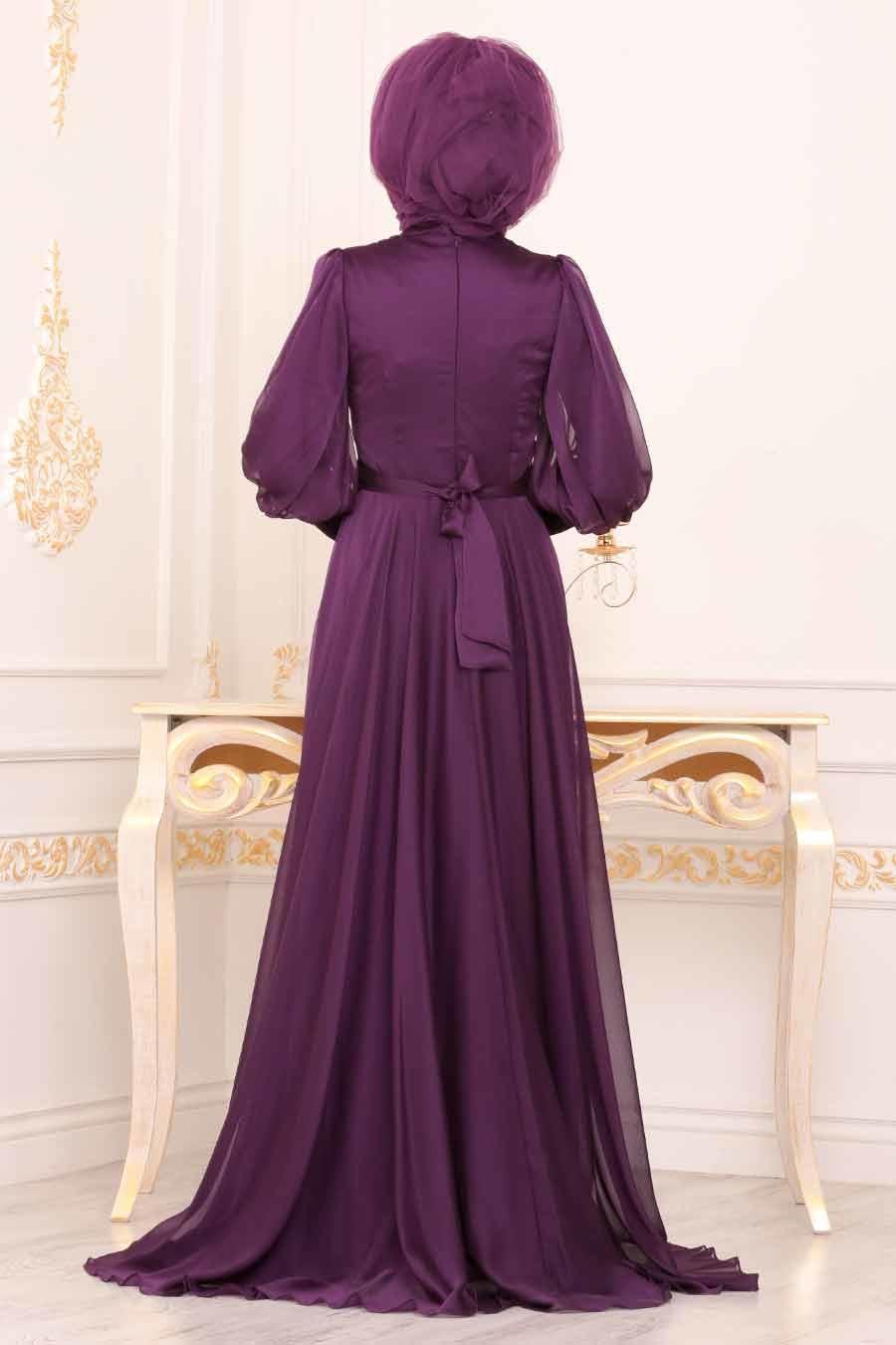 Tesettürlü Abiye Elbise - Balon Kol Mor Tesettür Abiye Elbise 3927MOR
