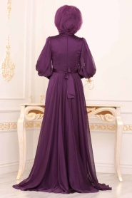 Tesettürlü Abiye Elbise - Balon Kol Mor Tesettür Abiye Elbise 3927MOR - Thumbnail