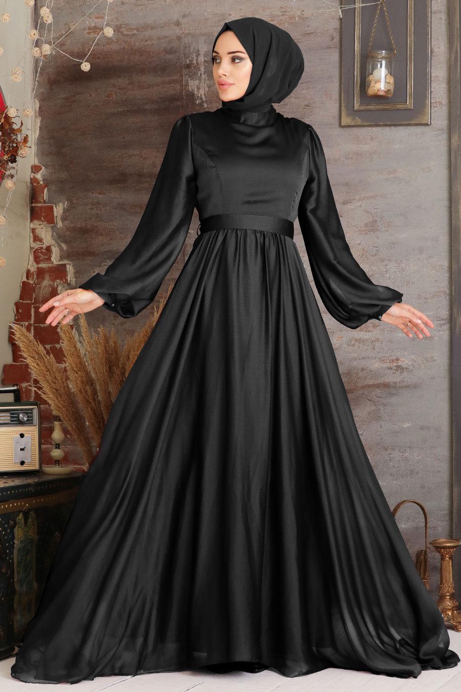 Tesettürlü Abiye Elbise - Balon Kol Siyah Tesettür Abiye Elbise 5215S