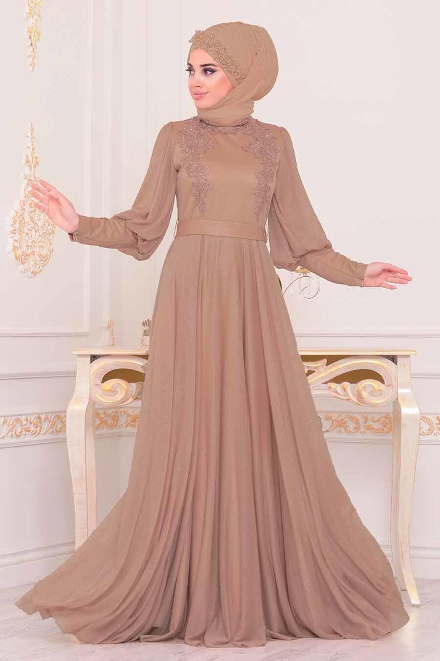 Tesettürlü Abiye Elbise - Balon Kol Vizon Tesettür Abiye Elbise 3927V