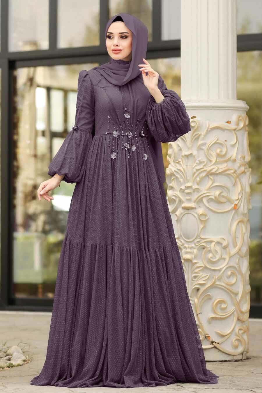 Tesettürlü Abiye Elbise - Balon Kollu Koyu Gül Kurusu Tesettür Abiye Elbise 38940KGK
