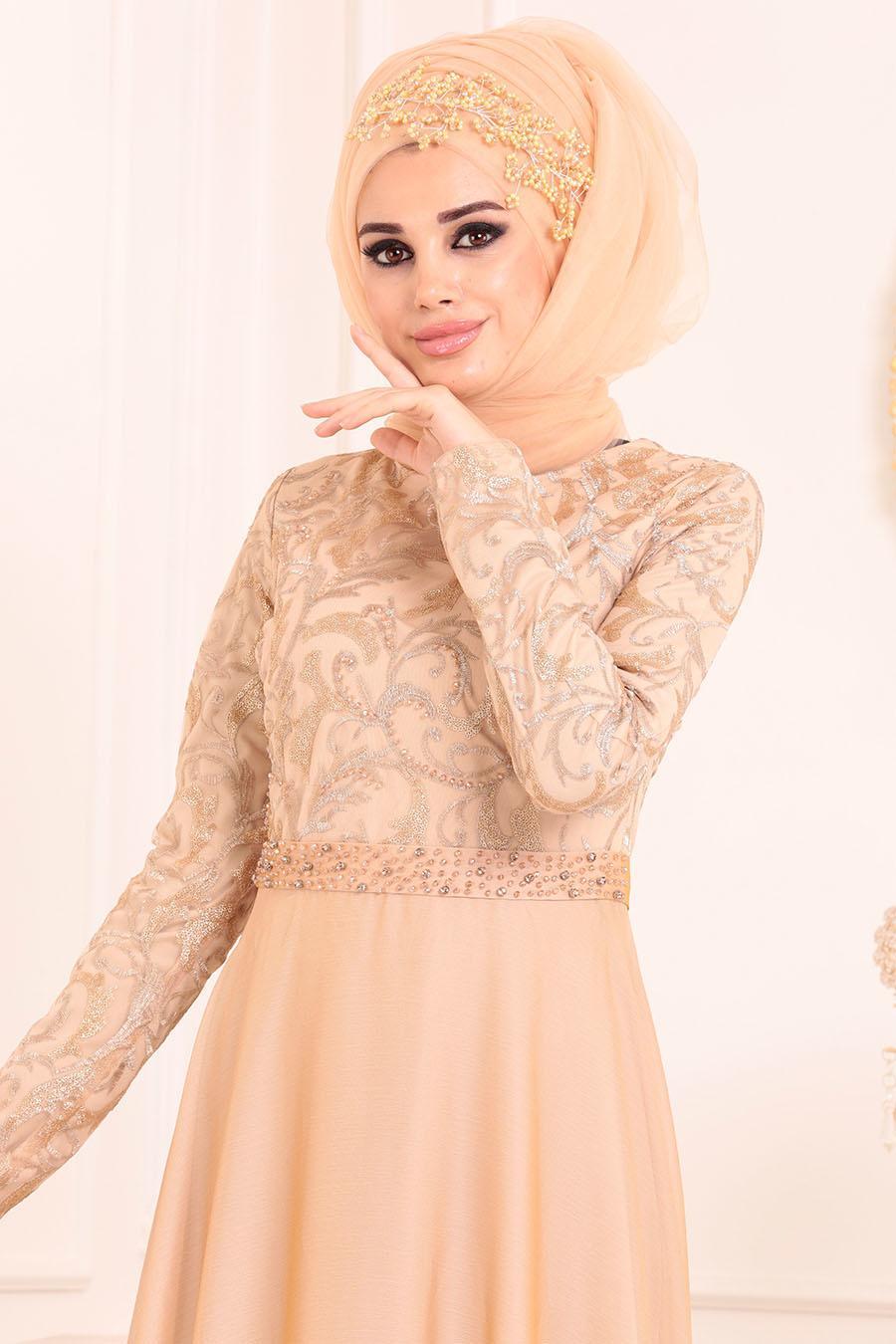 Tesettürlü Abiye Elbise - Beli Boncuk Detaylı Bej Tesettür Abiye Elbise 8462BEJ