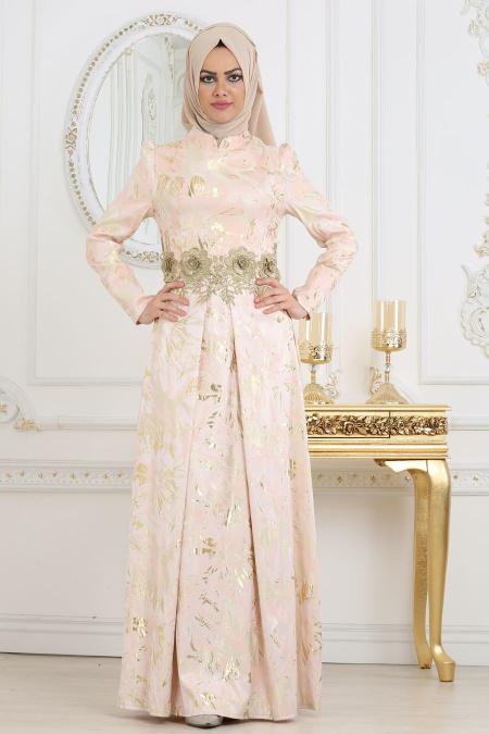 Tesettürlü Abiye Elbise - Beli Çiçek Detaylı Pudra Tesettür Abiye Elbise 7303PD