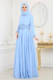 Tesettürlü Abiye Elbise - Beli Dantelli Bebek Mavisi Tesettür Abiye Elbise 20210BM - Thumbnail
