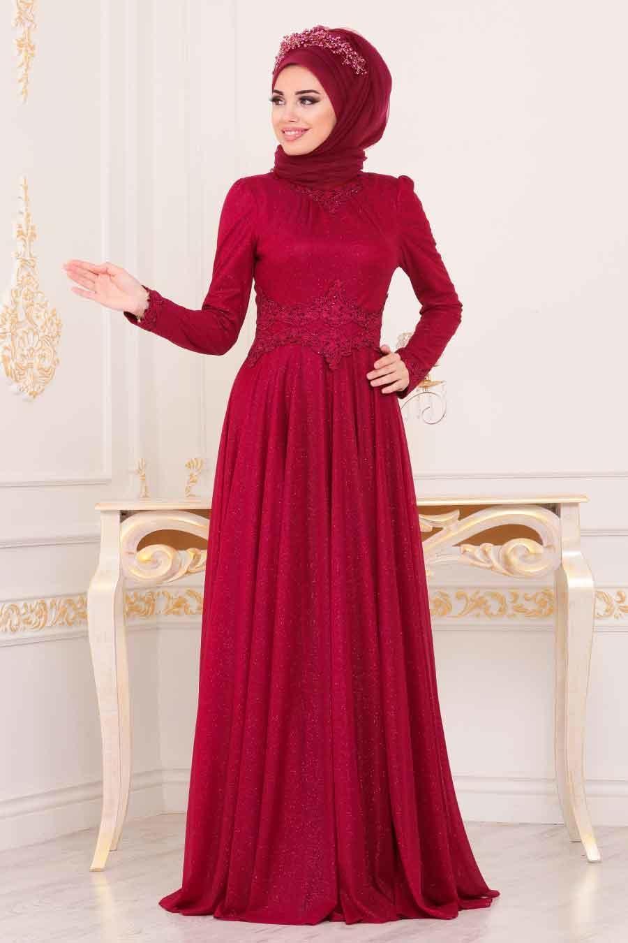 Tesettürlü Abiye Elbise - Beli Dantelli Bordo Tesettür Abiye Elbise 20210BR