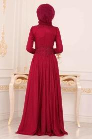 Tesettürlü Abiye Elbise - Beli Dantelli Bordo Tesettür Abiye Elbise 20210BR - Thumbnail