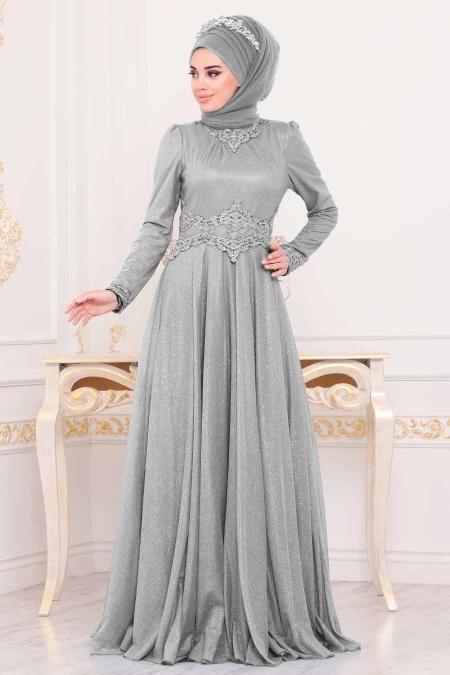 Tesettürlü Abiye Elbise - Beli Dantelli Gri Tesettür Abiye Elbise 20210GR