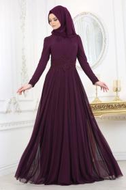 Tesettürlü Abiye Elbise - Beli Dantelli Mürdüm Tesettür Abiye Elbise 20210MU - Thumbnail
