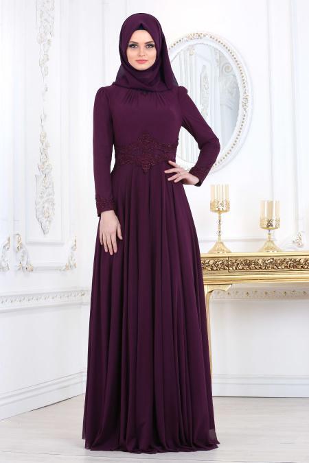 Tesettürlü Abiye Elbise - Beli Dantelli Mürdüm Tesettür Abiye Elbise 20210MU