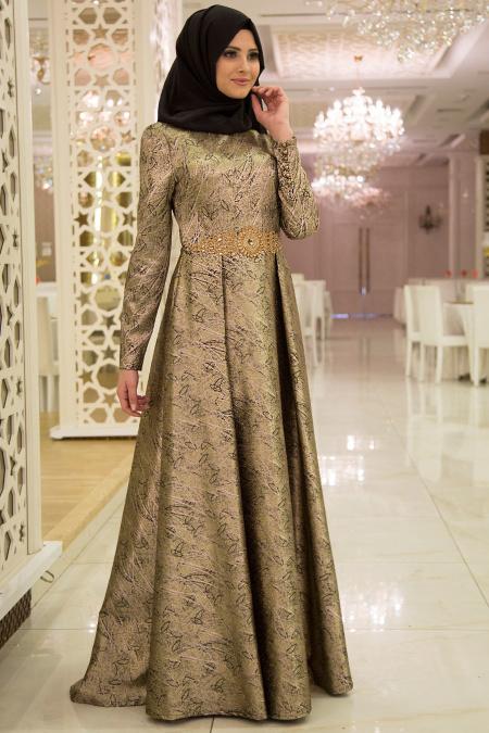 Tesettürlü Abiye Elbise - Beli Etnik Detaylı Desenli Abiye Elbise