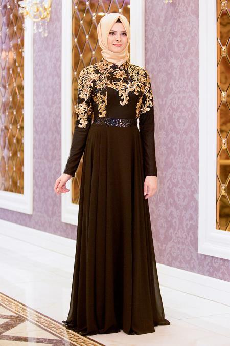 Tesettürlü Abiye Elbise - Beli Payetli Siyah Tesettür Abiye Elbise 7579S