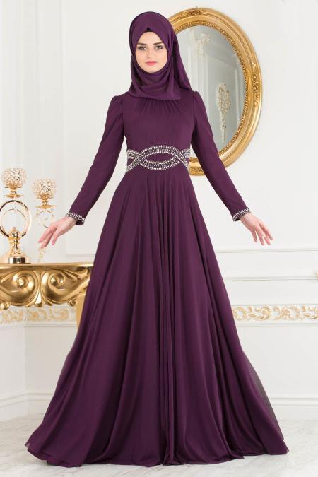 Tesettürlü Abiye Elbise - Beli Taşlı Mor Tesettür Abiye Elbise 20240MOR