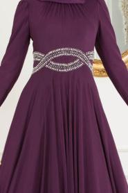 Tesettürlü Abiye Elbise - Beli Taşlı Mor Tesettür Abiye Elbise 20240MOR - Thumbnail