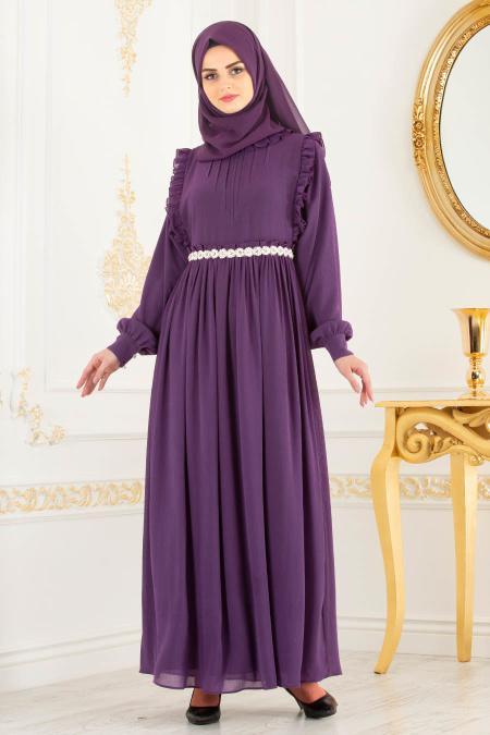 Tesettürlü Abiye Elbise - Beli Taşlı Mor Tesettür Abiye Elbise 3742MOR
