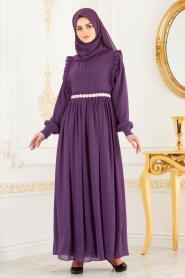 Tesettürlü Abiye Elbise - Beli Taşlı Mor Tesettür Abiye Elbise 3742MOR - Thumbnail