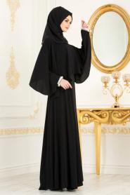 Tesettürlü Abiye Elbise - Bilekleri İnci Detaylı Pelerinli Siyah Tesettür Abiye Elbise 3627S - Thumbnail