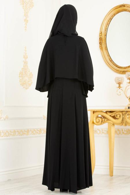 Tesettürlü Abiye Elbise - Bilekleri İnci Detaylı Pelerinli Siyah Tesettür Abiye Elbise 3627S