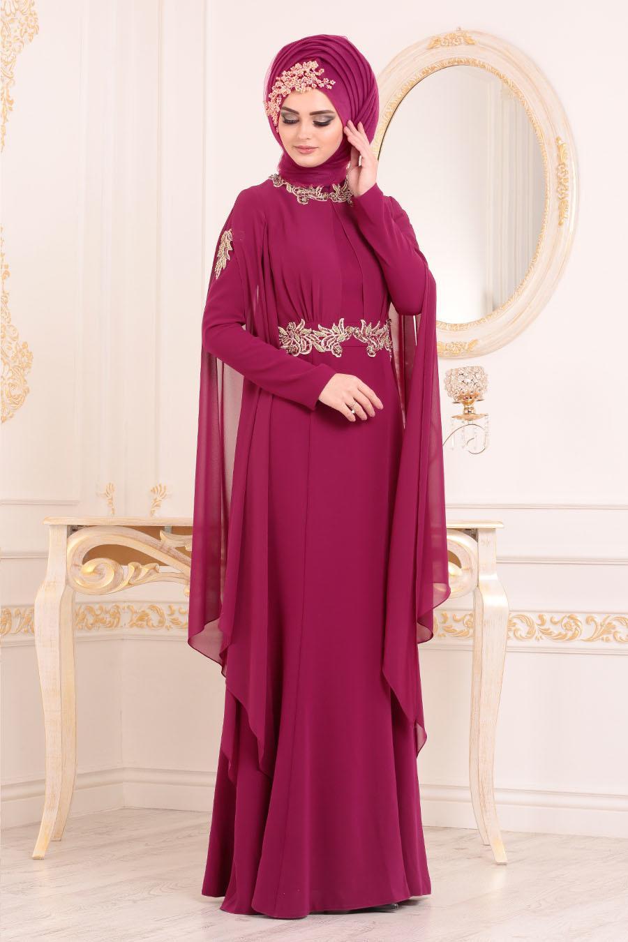 Tesettürlü Abiye Elbise - Boncuk Dantel Detaylı Fuşya Tesettür Abiye Elbise 2036F
