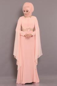 Tesettürlü Abiye Elbise - Boncuk Dantel Detaylı Pudra Tesettür Abiye Elbise 2036PD - Thumbnail