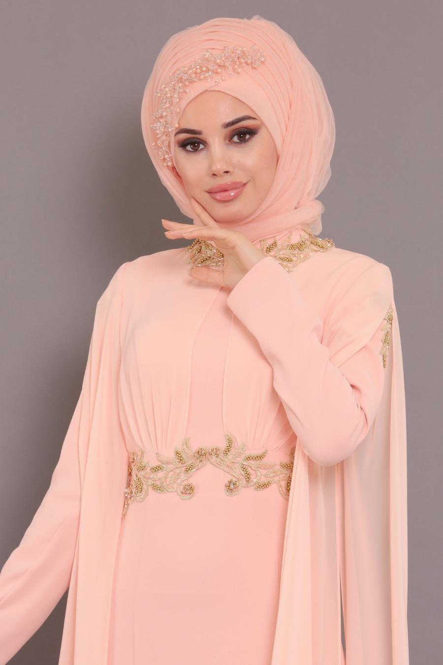 Tesettürlü Abiye Elbise - Boncuk Dantel Detaylı Pudra Tesettür Abiye Elbise 2036PD