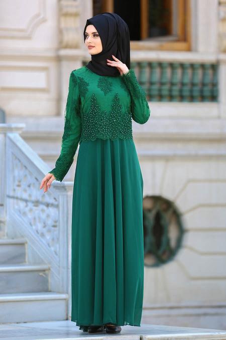 Tesettürlü Abiye Elbise - Boncuk Dantelli Yeşil Tesettür Abiye Elbise 7783Y