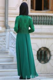 Tesettürlü Abiye Elbise - Boncuk Dantelli Yeşil Tesettür Abiye Elbise 7783Y - Thumbnail