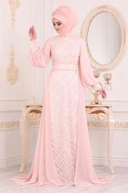 Tesettürlü Abiye Elbise -Boncuk Detaylı Balon Kol Pudra Tesettür Abiye Elbise 2032PD - Thumbnail