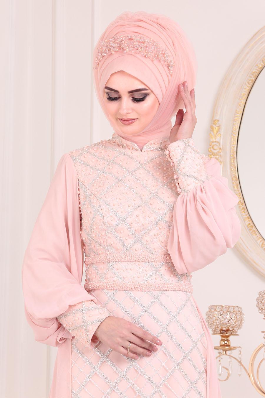 Tesettürlü Abiye Elbise -Boncuk Detaylı Balon Kol Pudra Tesettür Abiye Elbise 2032PD