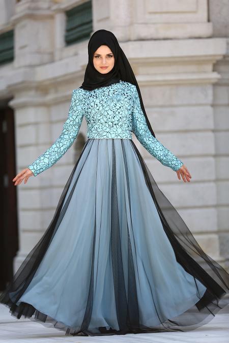 Tesettürlü Abiye Elbise - Boncuk Detaylı Bebek Mavisi Tesettür Abiye Elbise 75831BM