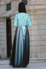 Tesettürlü Abiye Elbise - Boncuk Detaylı Bebek Mavisi Tesettür Abiye Elbise 75831BM - Thumbnail