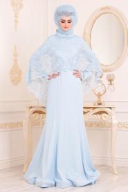 Tesettürlü Abiye Elbise - Boncuk Detaylı Bebek Mavisi Tesettürlü Abiye Elbise 43911BM - Thumbnail