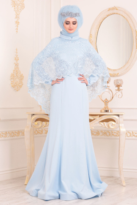 Tesettürlü Abiye Elbise - Boncuk Detaylı Bebek Mavisi Tesettürlü Abiye Elbise 43911BM