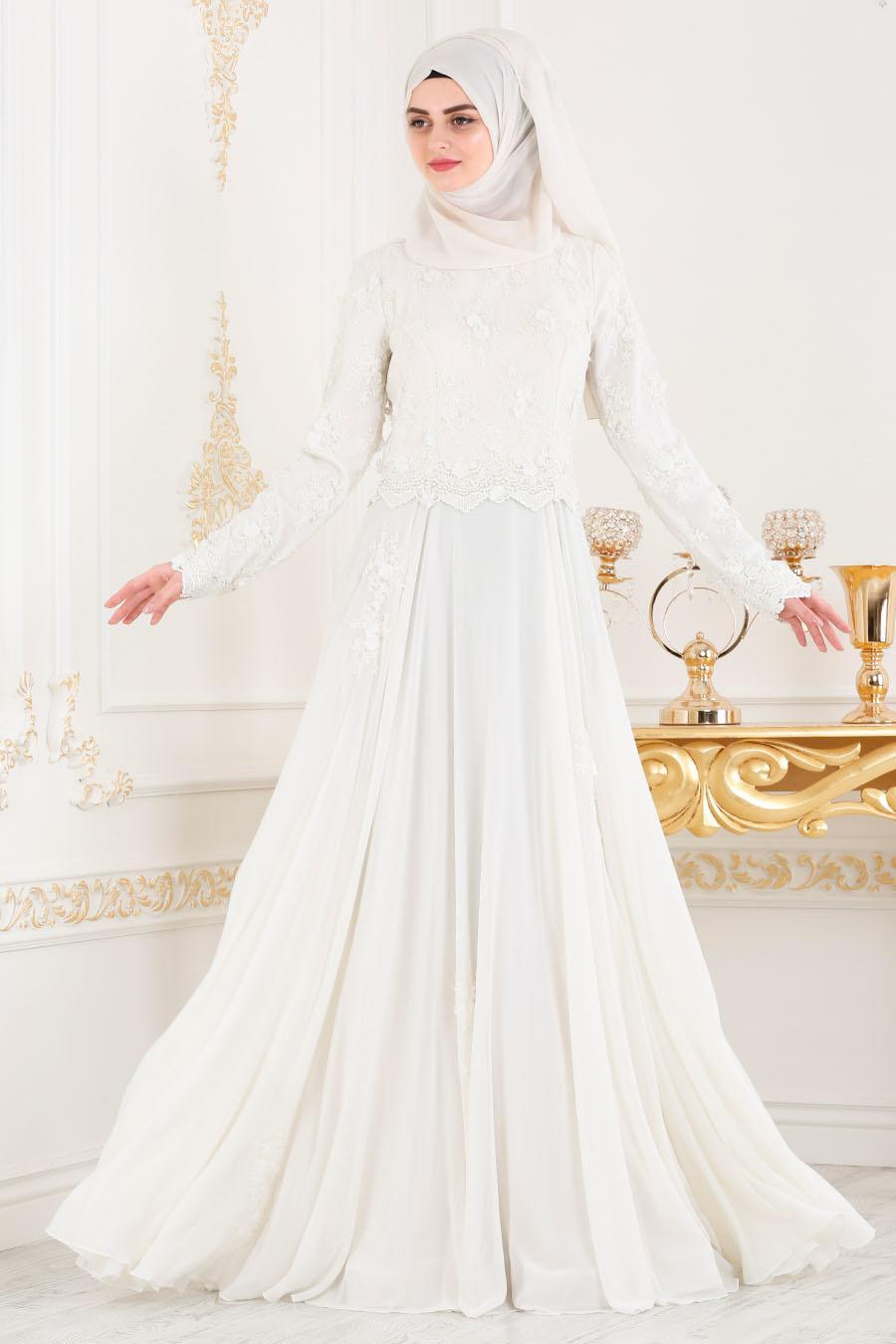 Tesettürlü Abiye Elbise - Boncuk Detaylı Beyaz Tesettür Abiye Elbise 43961B