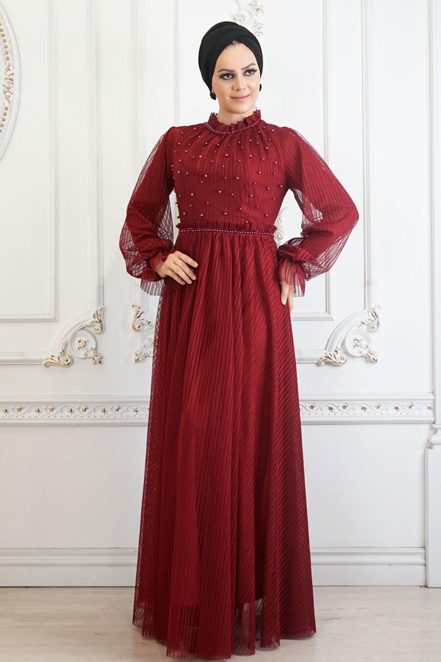 Tesettürlü Abiye Elbise - Boncuk Detaylı Bordo Tesettür Abiye Elbise 22450BR