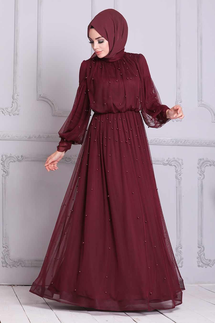 Tesettürlü Abiye Elbise - Boncuk Detaylı Bordo Tesettür Abiye Elbise 4115BR